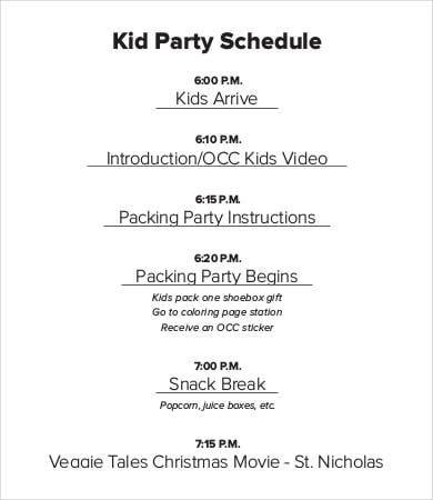Kid Party Schedule