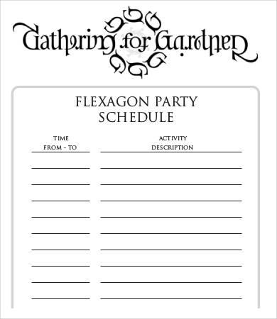 Flexagon Party Schedule Template