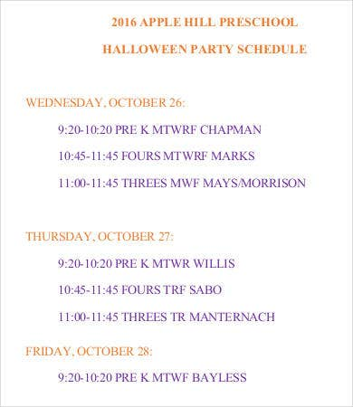 Halloween Party Schedule Template