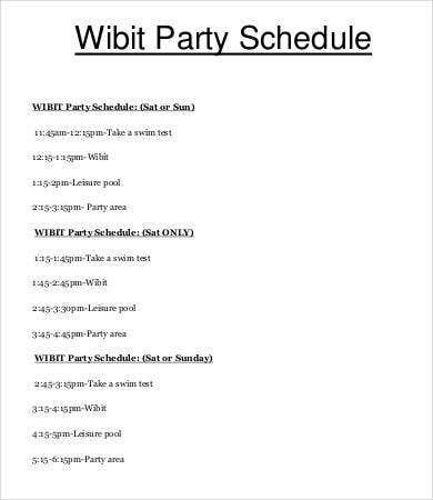 Wibit Party Schedule Template