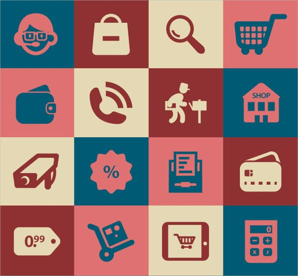 Flat Shopping Retro Icons