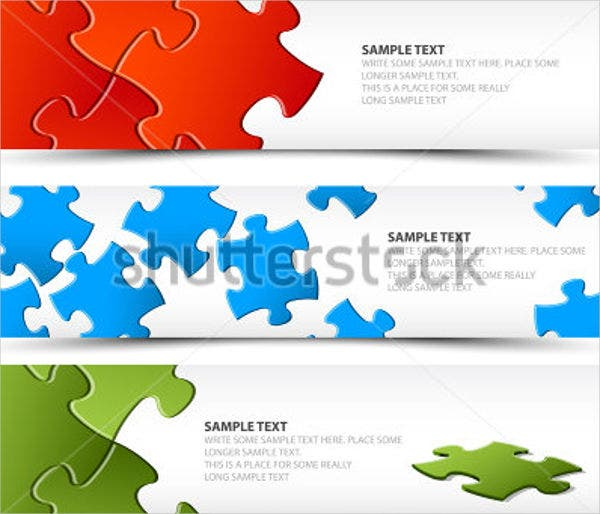 horizontal puzzle banner vector