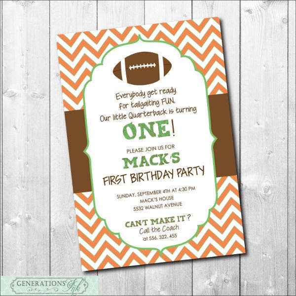 Birthday Football Invitation