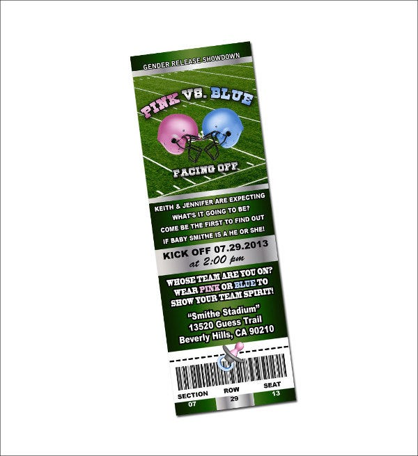 gender reveal football invitation