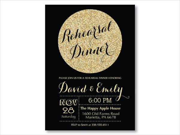 rehearsal dinner sparkle invitation