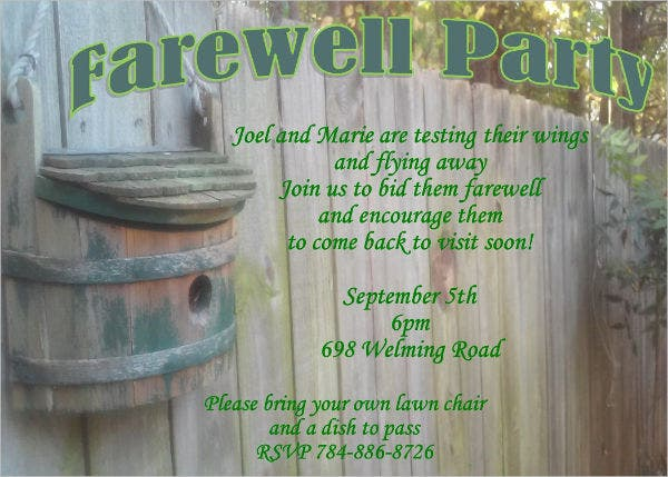 farewell email party invitation1