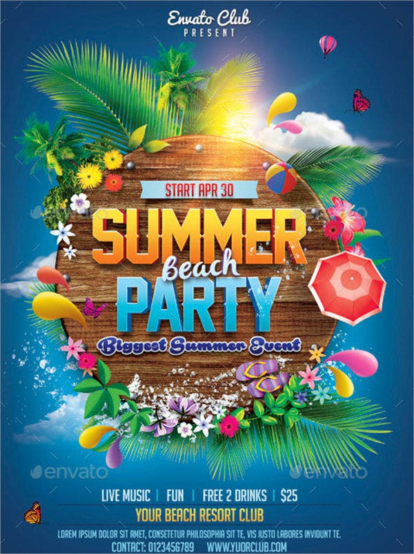 10+ summer party invitations - free editable psd, ai, vector eps, Party invitations