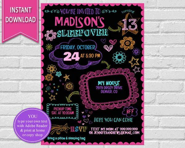 birthday party sleepover invitations
