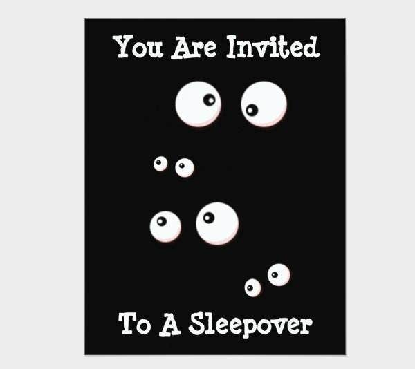 black and white sleepover invitation
