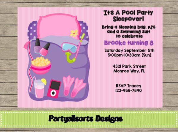 pool party sleepover invitation