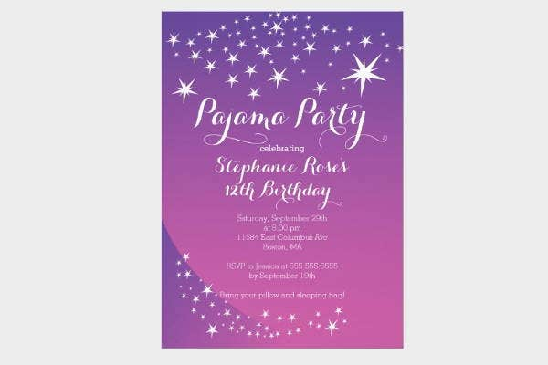star sleepover invitation