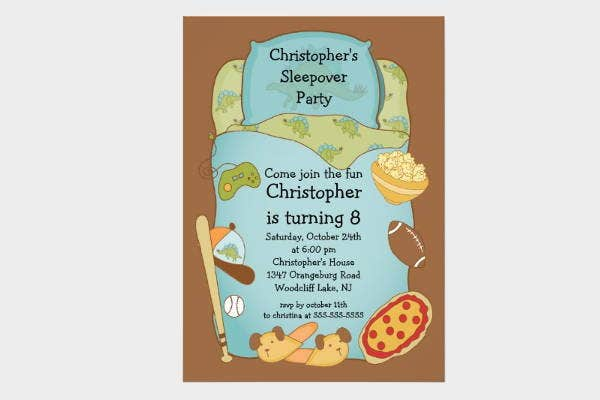 boy sleepover invitation