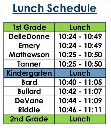 Free Lunch Schedule Template