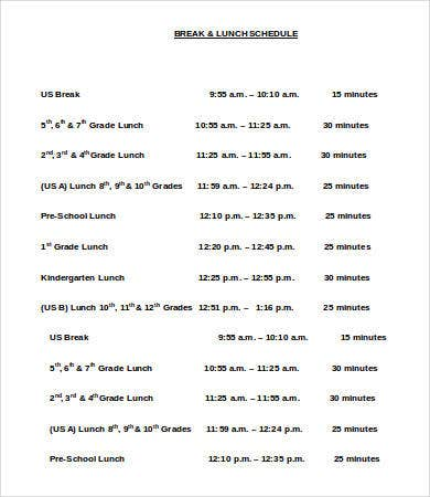 School Break & Lunch Schedule Template