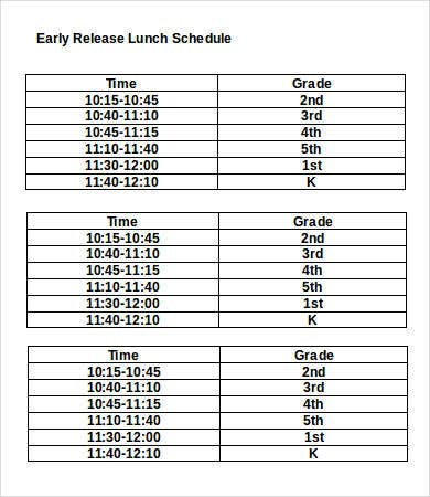 Early Release Lunch Schedule Template