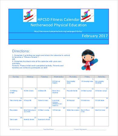 Monthly Fitness Calendar Template
