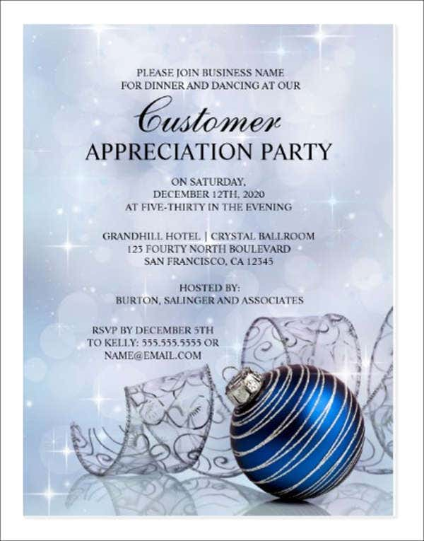Appreciation Dinner Invitations  Free Sample Example Format