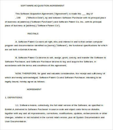 Acquisition Agreement Template 9 Free Sample Example Format