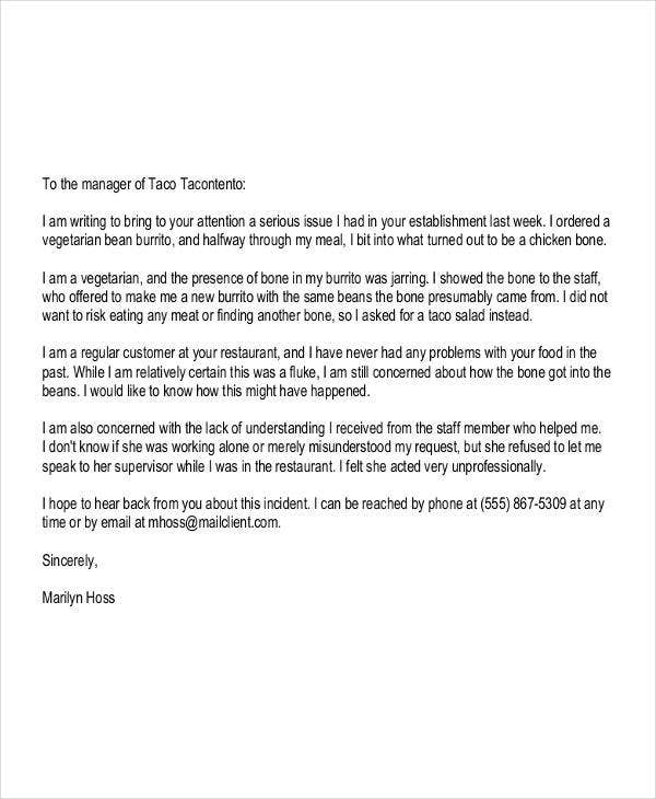 formal customer complaint letter template1