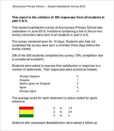 Primary Student Satisfaction Survey Template