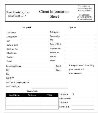 tax client information sheet template