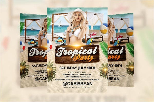 Tropical Pool Party Flyer