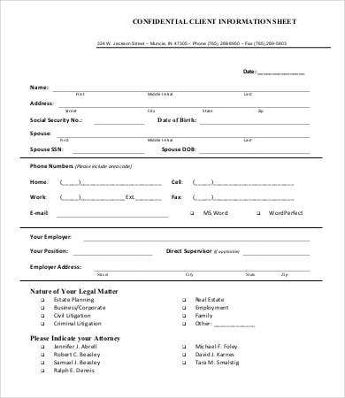 confidential client information sheet