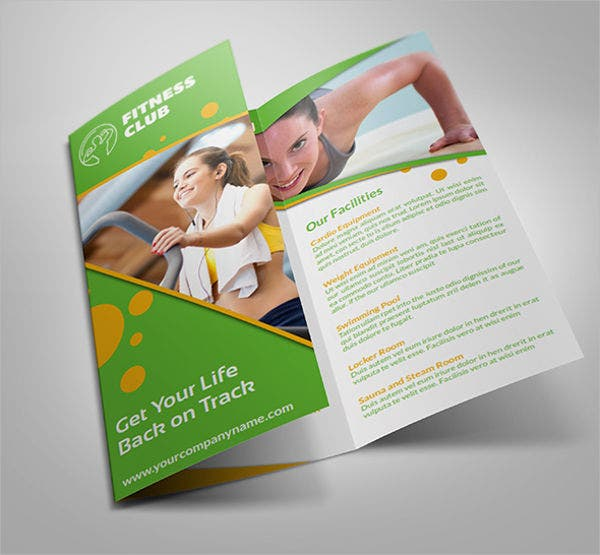 gym and fitness tri fold flyer