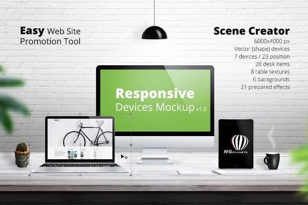 Computer Responsive Screen Mockup