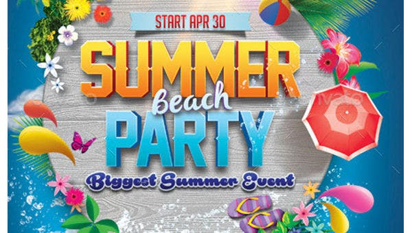 photograph about Beach Party Invitations Free Printable called 18+ Summer season Occasion Invites - PSD, AI, EPS No cost High quality