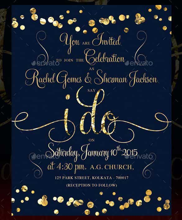 Blank wedding invitations templates royal blue