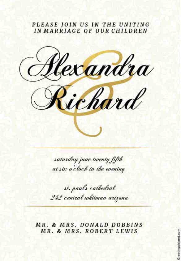 Wedding Invitation Template   Free Printable Word Pdf Psd