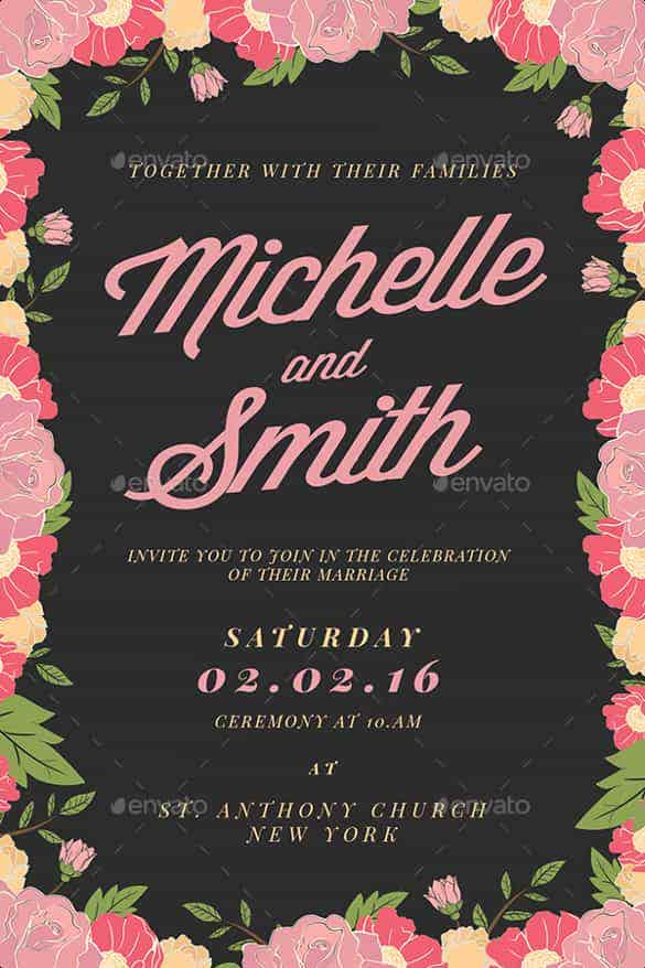 floral background wedding invitation template for download min