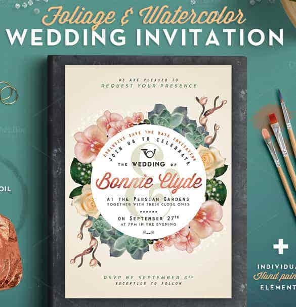 hand painted wedding invitation template for download min