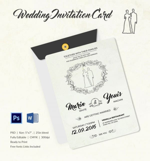 Modern Wedding Invitation Template1 min wedding invitation template 71 free printable word, pdf, psd,Fonts For Wedding Invitations Free Download