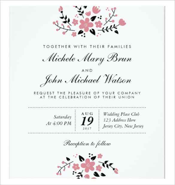 Wedding Invitation Letter Format Kerala. Pretty Floral Modern Stylish Wedding Invitation Template Download  63 Free Printable Word PDF PSD