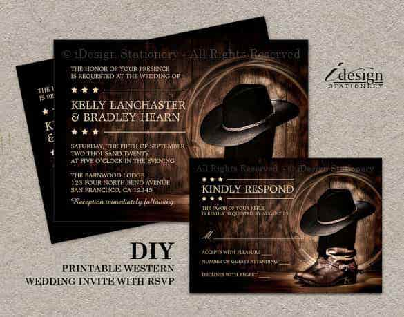 printable country western wedding invitation template min