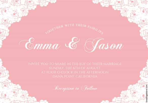 rose lace corners printable wedding invitation template download min
