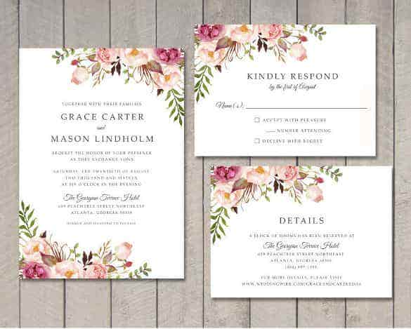 simple and clear wedding invitation template for download min