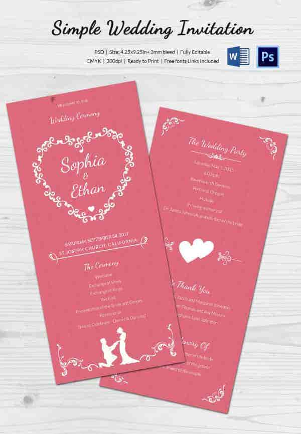 Simple Wedding Invitation Cards Sample