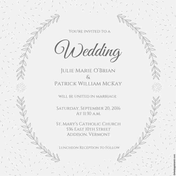 Beau Stylized Laurels Printable Wedding Invitation Template Download