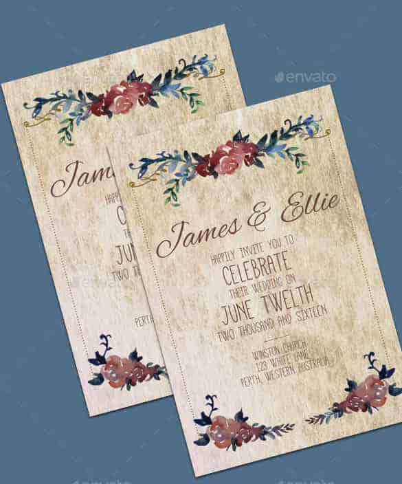 vintage wedding invitation template for download min
