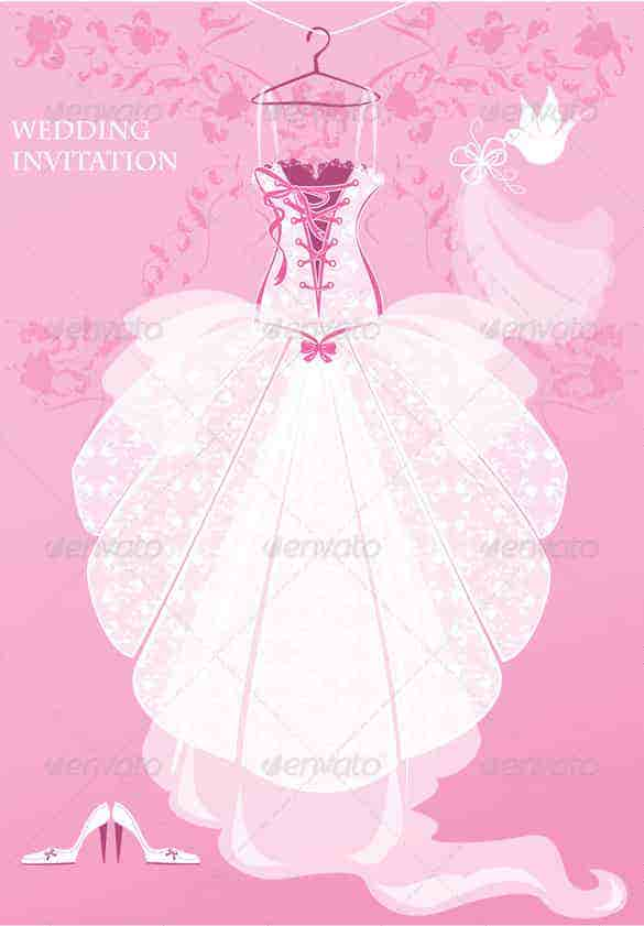 wedding dress invitation template pink background psd min