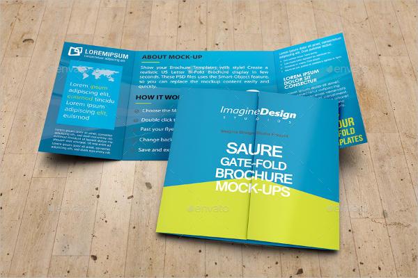 square gate folded brochure mockup