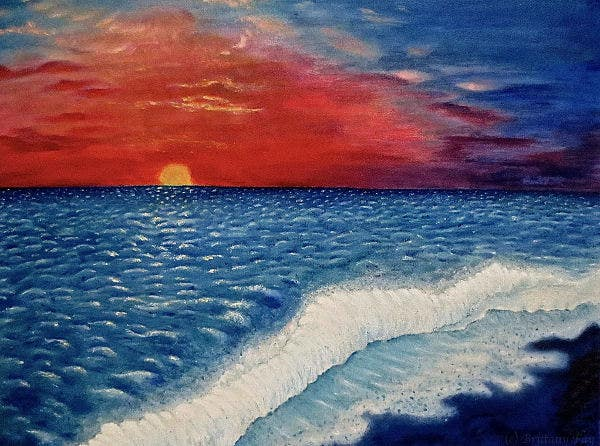 sunset-over-ocean-painting