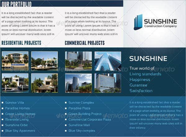 7 construction company brochures design templates for Sunshine construction