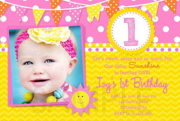 Printable 1st Birthday Party Invitation