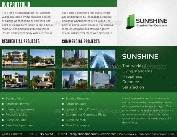 sunshine construction company tri fold brochure