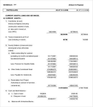 Project Construction Business Balance Sheet Template