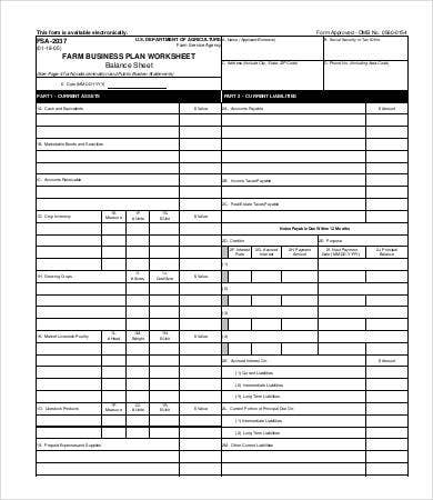 Farm Business Plan Worksheet Balancesheet